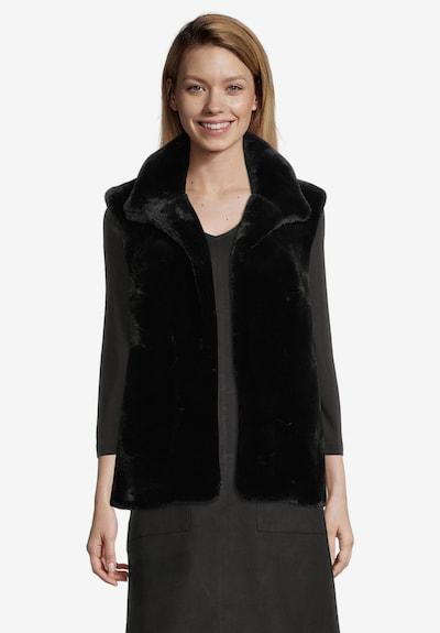 Cartoon Fake Fur-Weste mit hohem Kragen in schwarz, Modelansicht