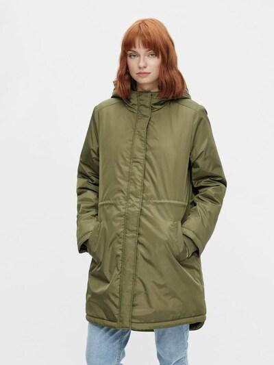 PIECES Between-Seasons Coat in Green, View model