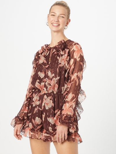 River Island Jumpsuit in creme / dunkelbraun / rot, Modelansicht