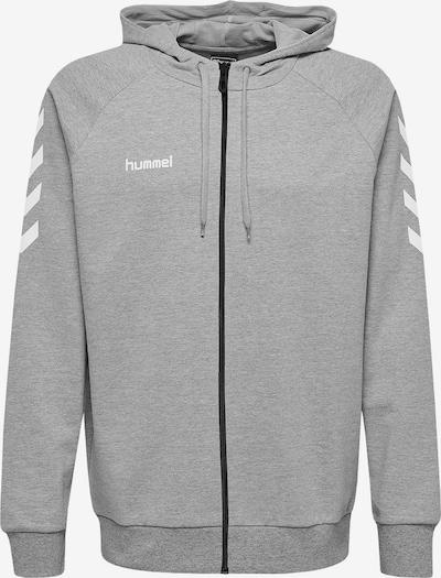 Hummel Sportsweatjacke in grau / weiß: Frontalansicht