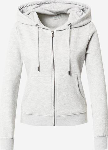 ONLY Zip-Up Hoodie 'FEEL' in Grey