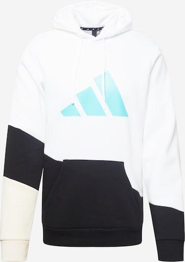 ADIDAS PERFORMANCE Спортен блузон с качулка в кремаво / аквамарин / черно / бяло: Изглед отпред