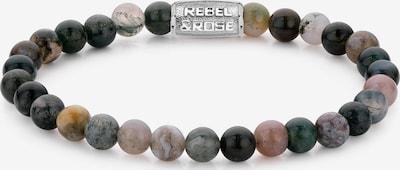 Rebel & Rose Armband in dunkelgrün / rosa / silber, Produktansicht