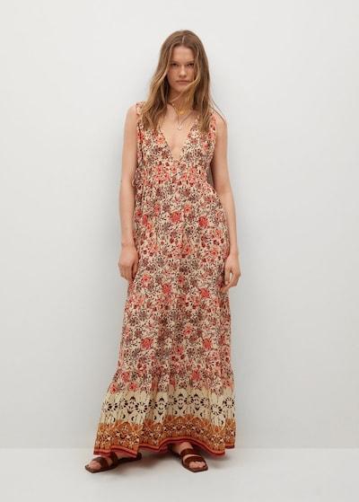 MANGO Kleid in creme / orange / rot, Modelansicht