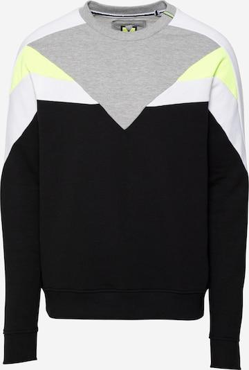 Hailys Men Sweat-shirt en jaune / gris chiné / noir / blanc cassé, Vue avec produit