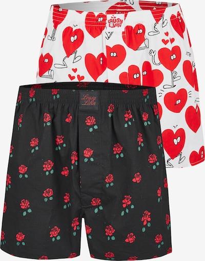Lousy Livin Boxershorts 'Rose & Valentines' in rot / schwarz, Produktansicht