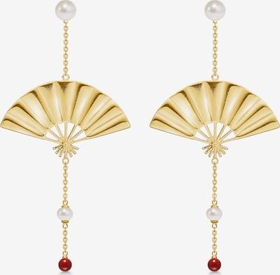 Polar Jewelry Ohrringe 'Hanging Fan Earrings' in gold / perlweiß, Produktansicht