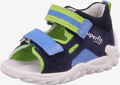 SUPERFIT Otvorene cipele 'Flow' u morsko plava / svijetloplava / kivi zelena / bijela, Pregled proizvoda