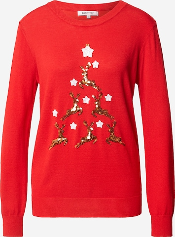 ABOUT YOU Sweater 'Valeria' in Red