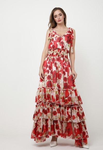 Madam-T Kleid 'Nikoletta' in beige / dunkelgelb / oliv / rot / weiß, Modelansicht