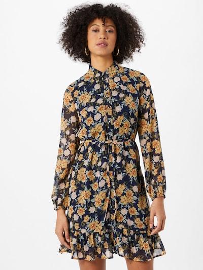 PIECES Robe-chemise en bleu foncé / jaune, Vue avec modèle