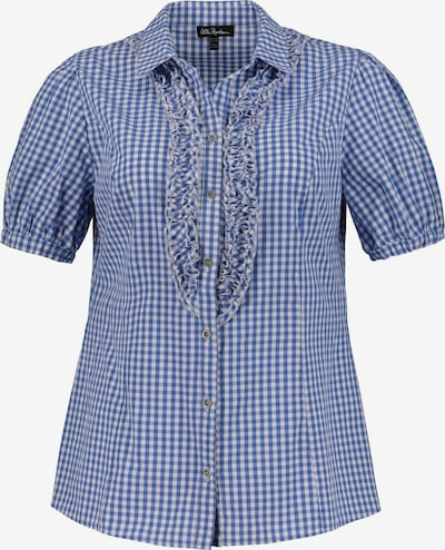 Ulla Popken Trachtenbluse mit Vichykaro in blau / hellblau / weiß, Produktansicht