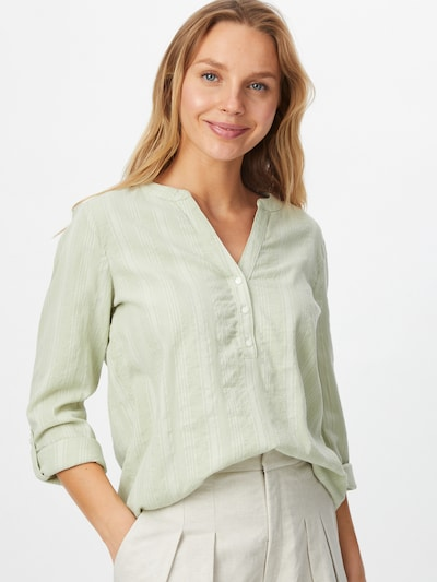 TOM TAILOR DENIM Blouse in de kleur Pastelgroen / Wit, Modelweergave