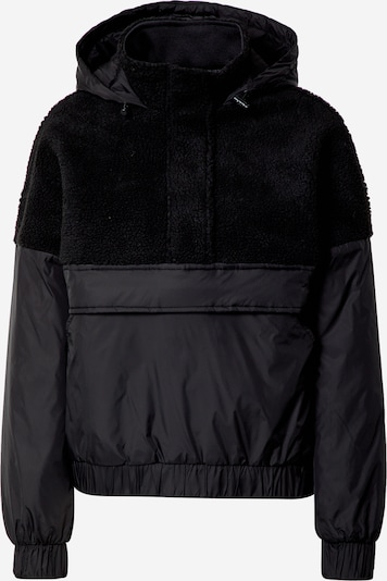 Urban Classics Tussenjas 'Ladies Sherpa Mix Pull Over Jacket' in de kleur Zwart, Productweergave