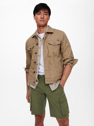Only & Sons Klapptaskutega püksid 'Mike', värv roheline