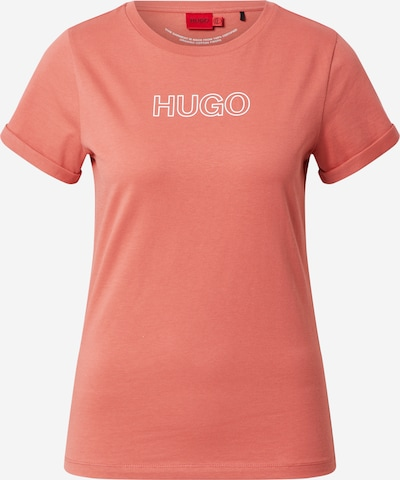 HUGO Shirt in de kleur Abrikoos / Wit, Productweergave