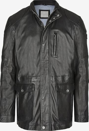 bugatti Lederjacke mit Abdeckleiste und Stehkragen in schwarz, Produktansicht