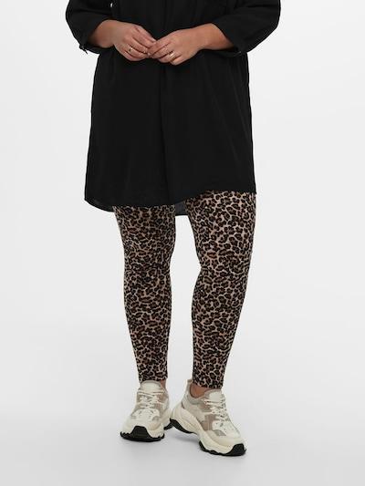 ONLY Carmakoma Leggings 'CARTIME LIFE LEGGING AOP' in de kleur Beige / Bruin / Zwart, Modelweergave