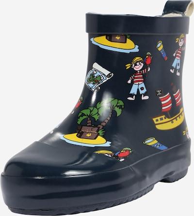Guminiai batai 'Pirateninsel' iš PLAYSHOES , spalva - tamsiai mėlyna jūros spalva / ruda / geltona / žalia / raudona, Prekių apžvalga