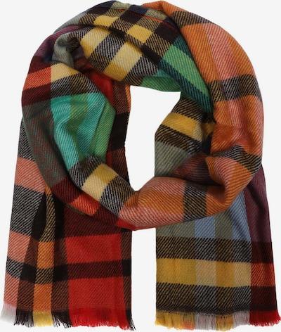 Zwillingsherz Schal in senf / grün / orange / dunkelrot / schwarz, Produktansicht