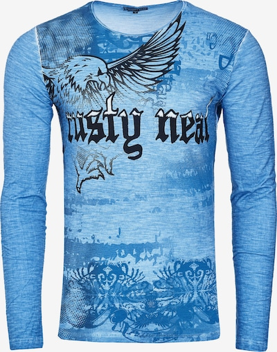 Rusty Neal Langarmshirt mit coolem Front- Print in blau: Frontalansicht
