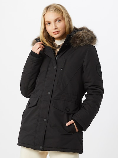 Woman in a Superdry winter parka
