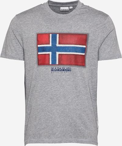 NAPAPIJRI Тениска 'SIROL' в гълъбово синьо / сив меланж / гренадин / бяло: Изглед отпред