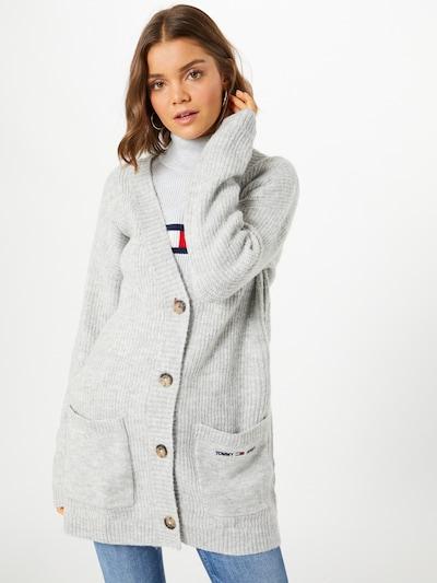 Tommy Jeans Manteau en tricot en gris, Vue avec modèle