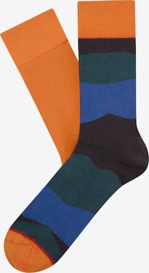 Cheerio Chaussettes en bleu / bleu nuit / émeraude / orange fluo, Vue avec produit
