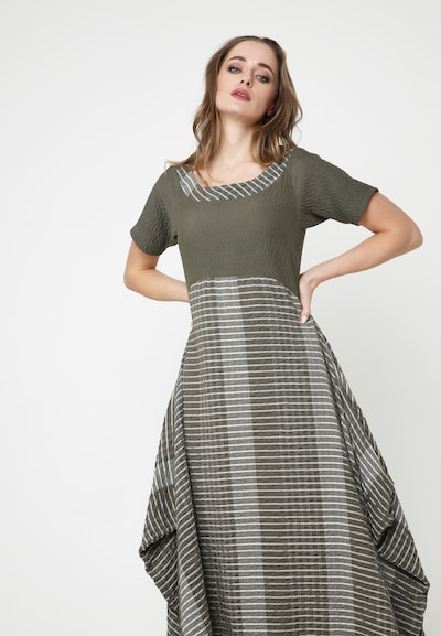 Madam-T Kleid 'Nigda' in grau / khaki, Modelansicht
