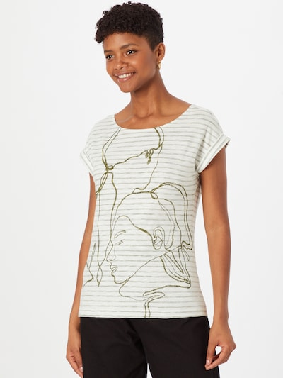 Tricou ESPRIT pe oliv / alb murdar: Privire frontală