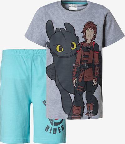 Dragons Schlafanzug in türkis / grau / schwarz, Produktansicht