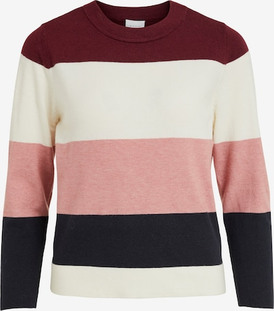VILA Pullover 'Kerry' in navy / rosa / karminrot / weiß, Produktansicht