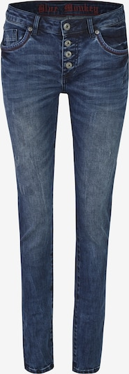 Blue Monkey Skinny Fit Jeans Alexis mit roten Kontrastnähten in blau, Produktansicht