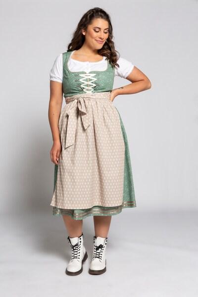 Ulla Popken Dirndl en beige / or / vert / blanc, Vue avec modèle
