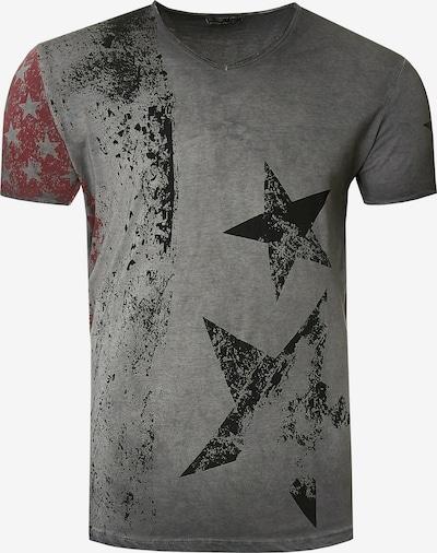 Rusty Neal Cooles T-Shirt mit V-Ausschnitt in anthrazit, Produktansicht