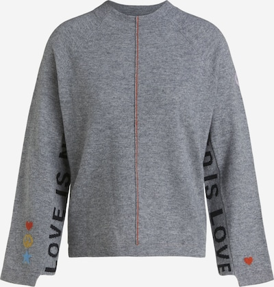 OUI Pullover in grau / orange / schwarz, Produktansicht