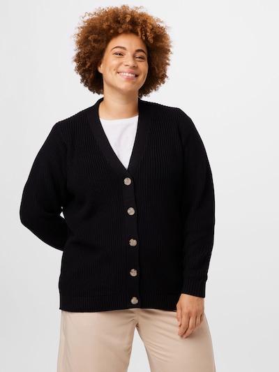 Selected Femme Curve Strickjacke 'AMMY' in schwarz, Modelansicht