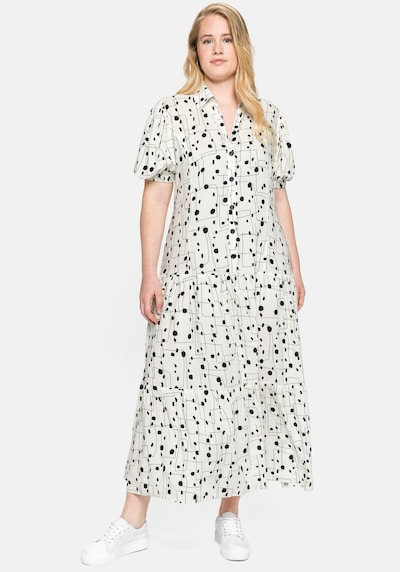 Rochie tip bluză SHEEGO pe negru / alb, Vizualizare model