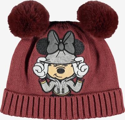 NAME IT Mütze 'Minnie' in beige / grau / hellgrau / dunkelrot, Produktansicht