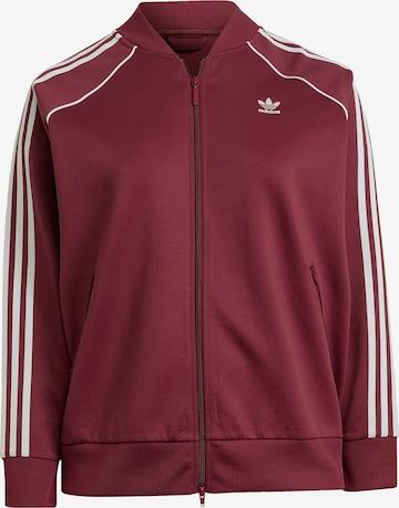 ADIDAS ORIGINALS Athletic Zip-Up Hoodie in Red