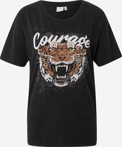 ICHI T-shirt i brun / gul / svart / vit, Produktvy