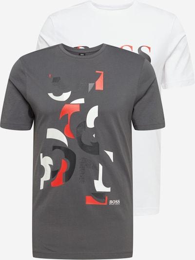 BOSS ATHLEISURE T-Shirt en pierre / gris foncé / rouge clair / blanc, Vue avec produit
