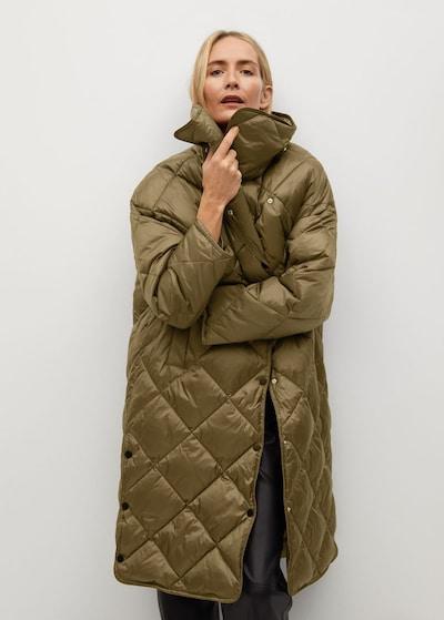 MANGO Wintermantel 'Croco' in oliv, Modelansicht