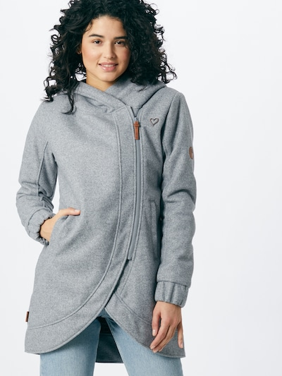 Alife and Kickin Between-seasons coat 'Carlotta' in grey mottled, View model