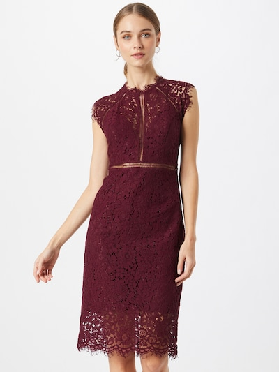 Bardot Cocktail Dress in Wine red, View model