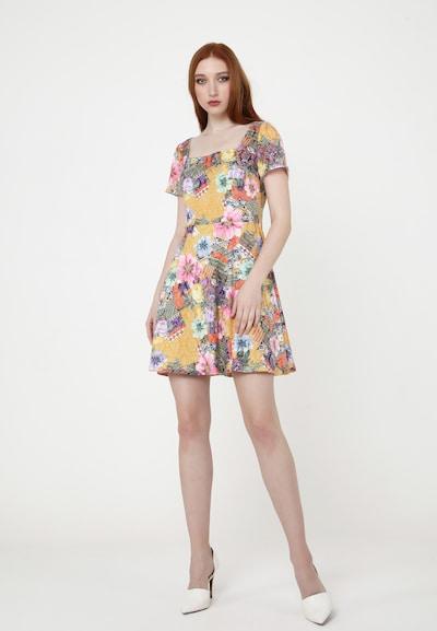 Madam-T Cocktailkleid 'AGAVA' in senf / mischfarben / rosa, Modelansicht