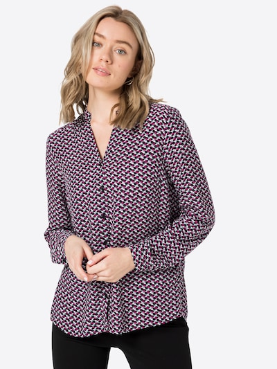 MORE & MORE Bluse in royalblau / dunkellila / rot / schwarz / weiß, Modelansicht