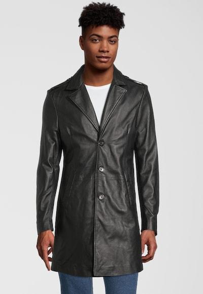 Goosecraft Ledermantel in schwarz, Modelansicht
