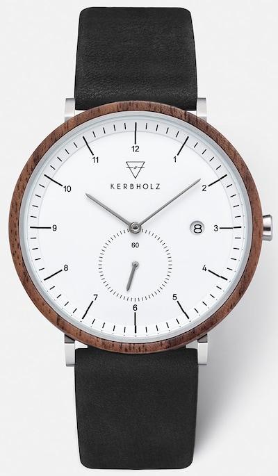 Kerbholz Armbanduhr in braun / schwarz / silber / weiß, Produktansicht